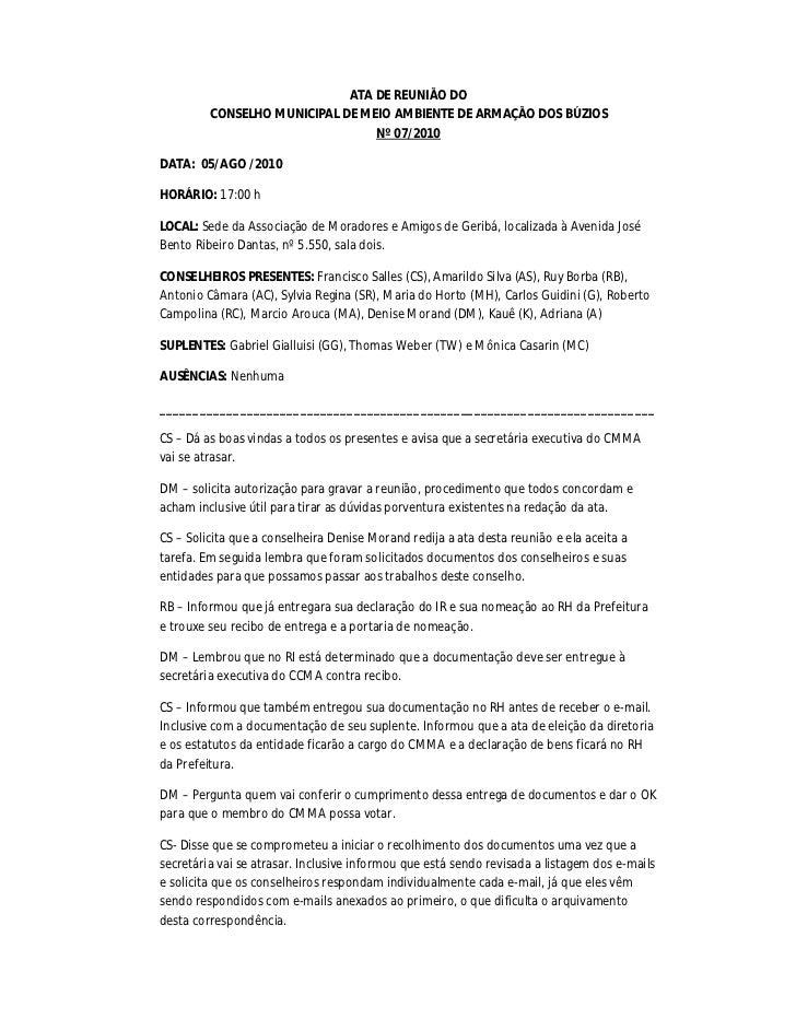 ATA DE REUNIÃO DO         CONSELHO MUNICIPAL DE MEIO AMBIENTE DE ARMAÇÃO DOS BÚZIOS                                 Nº 07/...