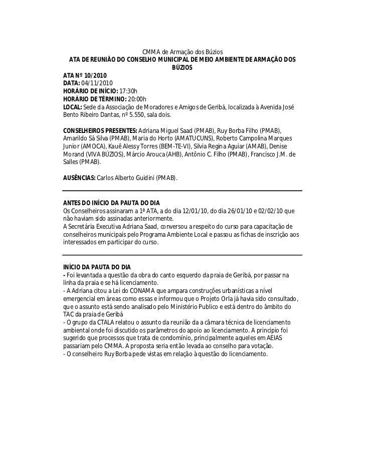 CMMA de Armação dos Búzios  ATA DE REUNIÃO DO CONSELHO MUNICIPAL DE MEIO AMBIENTE DE ARMAÇÃO DOS                          ...