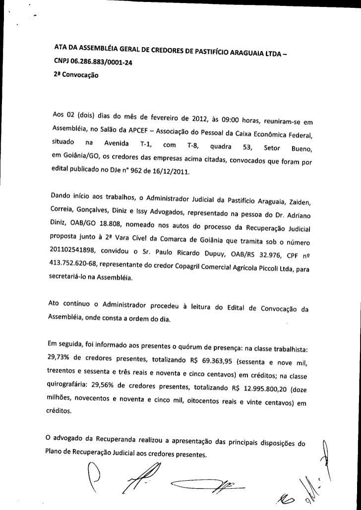 Ata da assembléia geral de credores de pastificio araguaia   2ª convocação
