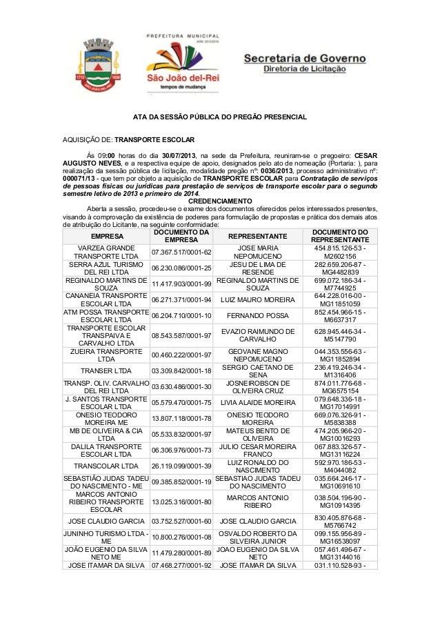 ATA DA SESSÃO PÚBLICA DO PREGÃO PRESENCIAL AQUISIÇÃO DE: TRANSPORTE ESCOLAR Às 09:00 horas do dia 30/07/2013, na sede da P...