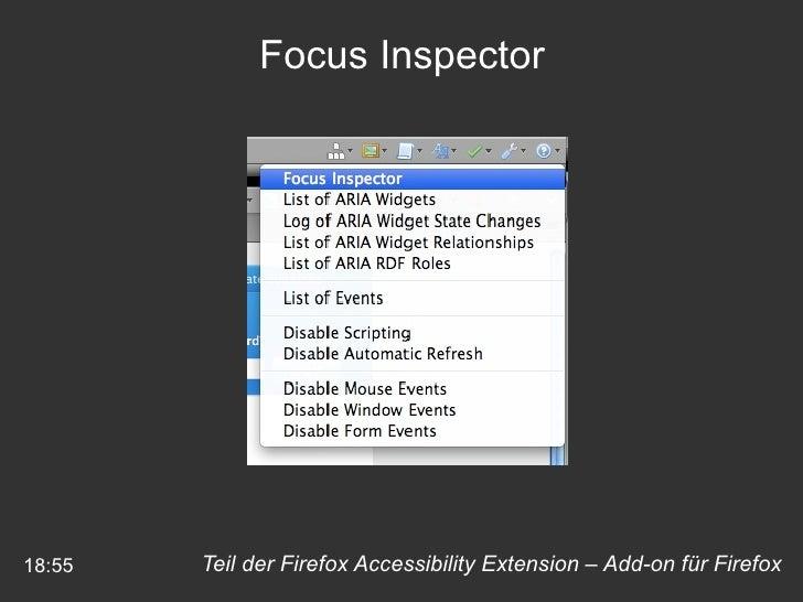 18:55 Teil der Firefox Accessibility Extension – Add-on für Firefox Focus Inspector
