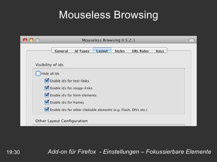 19:30 Mouseless Browsing Add-on für Firefox  - Einstellungen – Fokussierbare Elemente