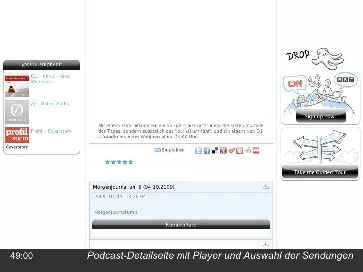 Podcast-Detailseite mit Player und Auswahl der Sendungen 49:00