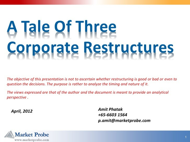 A Tale Of ThreeCorporate RestructuresThe objective of this presentation is not to ascertain whether restructuring is good ...