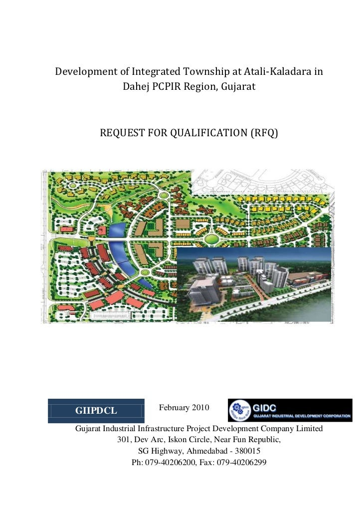 Development of Integrated Township at Atali-Kaladara in            Dahej PCPIR Region, Gujarat          REQUEST FOR QUALIF...