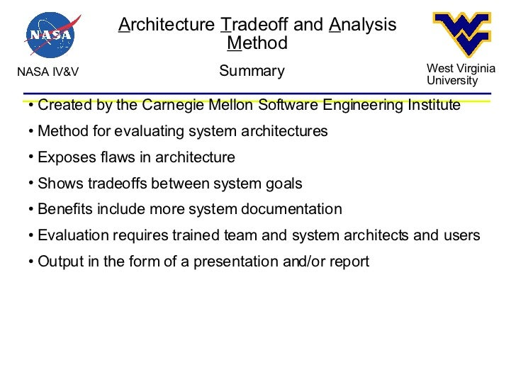 System architecture tradeoff analysis method