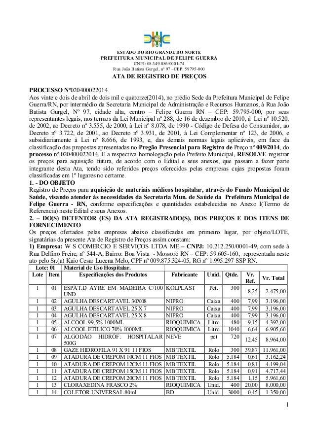 ESTADO DO RIO GRANDE DO NORTE PREFEITURA MUNICIPAL DE FELIPE GUERRA CNPJ: 08.349.086/0001-74 Rua João Batista Gurgel, nº 9...
