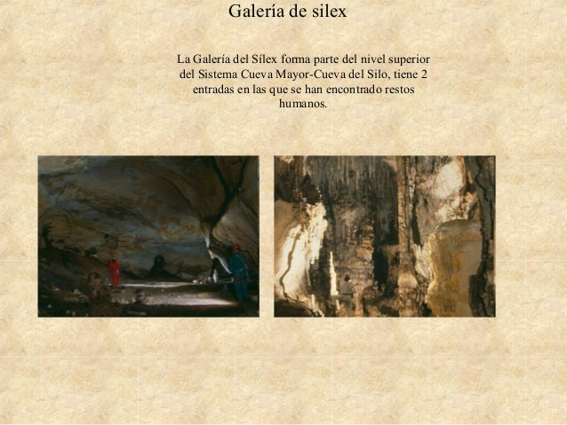 Galería de silex La Galería del Sílex forma parte del nivel superior del Sistema Cueva Mayor-Cueva del Silo, tiene 2 entra...