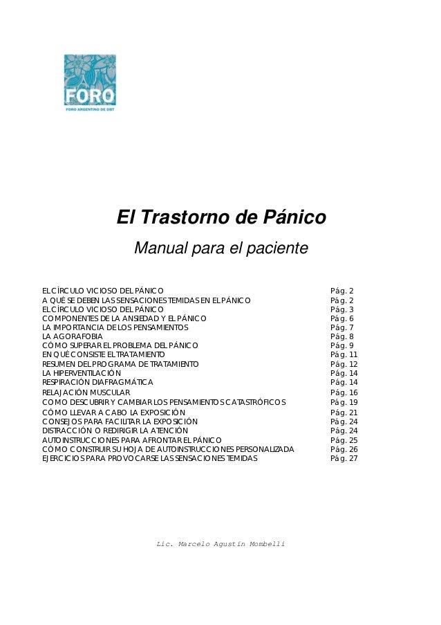 El Trastorno de Pánico                    Manual para el pacienteEL CÍRCULO VICIOSO DEL PÁNICO                            ...