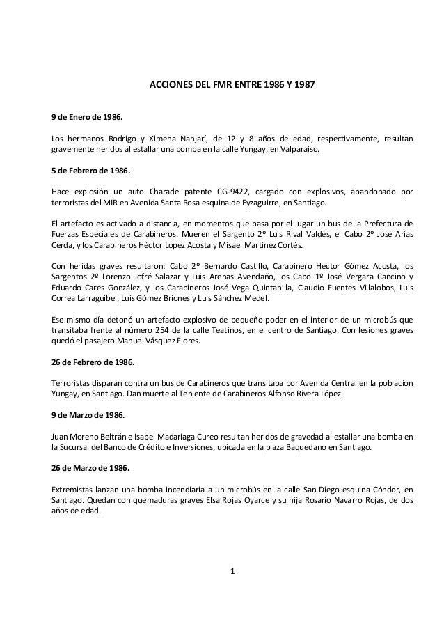 ACCIONES DEL FMR ENTRE 1986 Y 19879 de Enero de 1986.Los hermanos Rodrigo y Ximena Nanjarí, de 12 y 8 años de edad, respec...