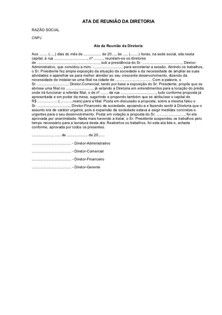 ATA DE REUNIÃO DA DIRETORIARAZÃO SOCIALCNPJ                                                      Ata da Reunião da Diretor...