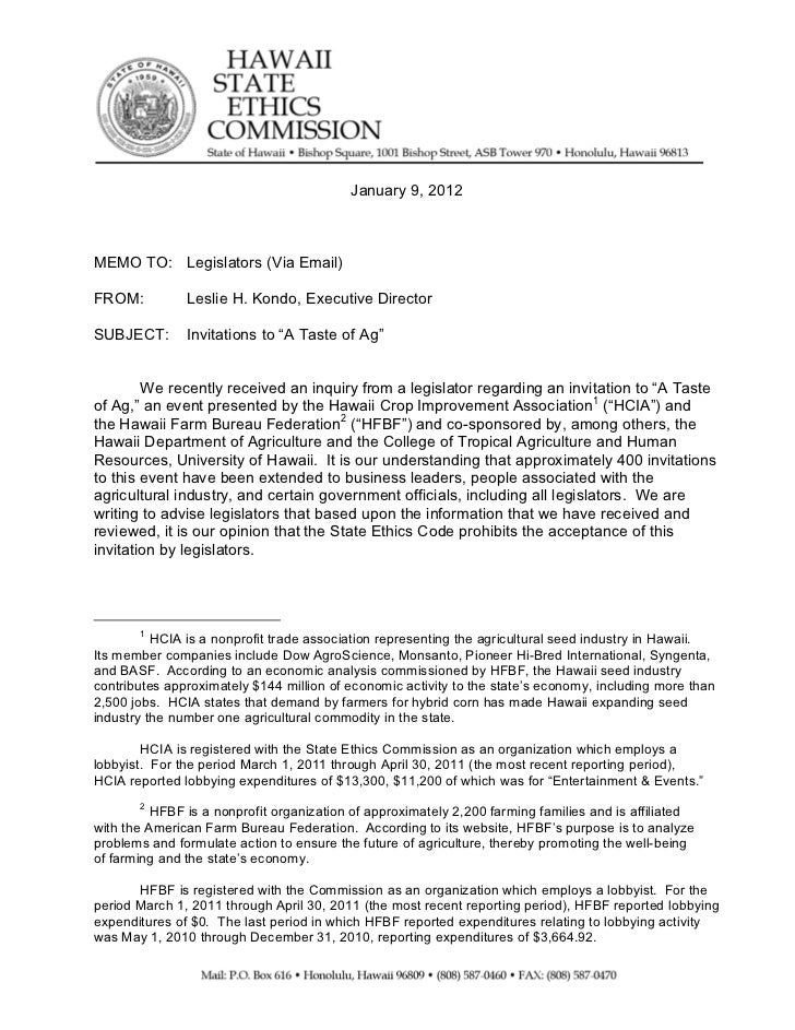 Ethics commission memo on a taste of ag invite for Commission sharing agreement template