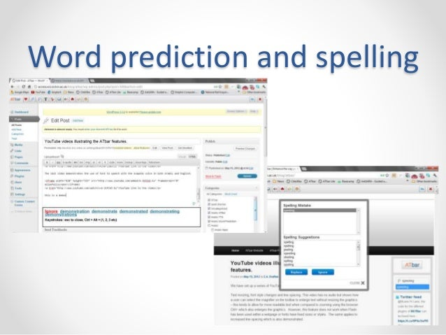 Word prediction and spelling