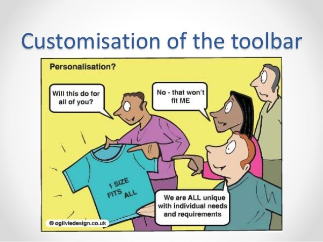 Customisation of the toolbar