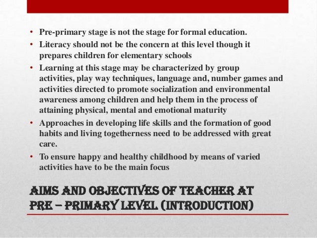 Teacher Education- Aims and Objectives