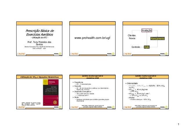 1 Prof. Tony Meireles dos Santos Diretor Executivo Pro Health & Performance DEF e PPGEF - UGF PrescriPrescriçção Bão Báási...