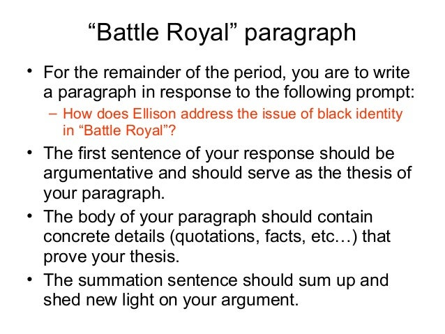 an analysis of ralph ellisons battle royal Character list summary and analysis prologue chapter 1 chapter 2 chapters 3-4 chapters 5-6 chapters 7-9 after tricking him into participating in the battle royal ralph ellison biography.