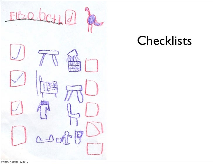 Checklists     Friday, August 13, 2010