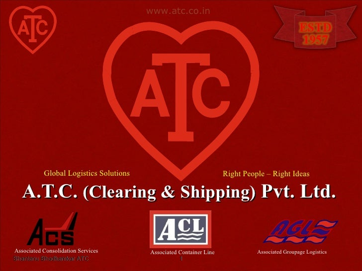 A.T.C.  (Clearing & Shipping)  Pvt. Ltd. Shantanu Bhadkamkar ATC Associated Consolidation Services Associated Groupage Log...