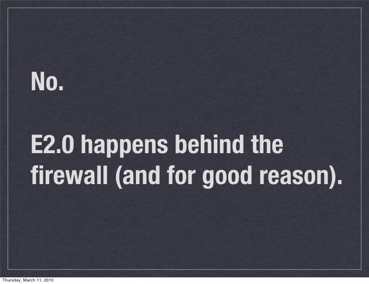 No.               E2.0 happens behind the              firewall (and for good reason).   Thursday, March 11, 2010