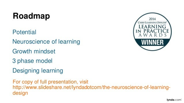 Roadmap Potential Neuroscience of learning Growth mindset 3 phase model Designing learning For copy of full presentation, ...