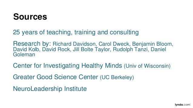 Sources 25 years of teaching, training and consulting Research by: Richard Davidson, Carol Dweck, Benjamin Bloom, David Ko...