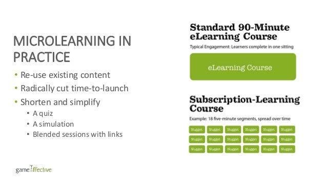 MICROLEARNING IN PRACTICE • Re-use existing content • Radically cut time-to-launch • Shorten and simplify • A quiz • A sim...