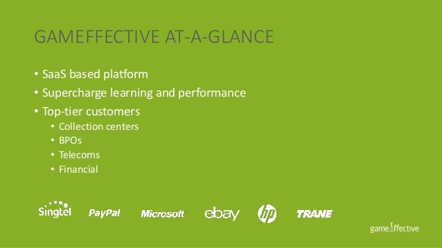 GAMEFFECTIVE AT-A-GLANCE • SaaS based platform • Supercharge learning and performance • Top-tier customers • Collection ce...