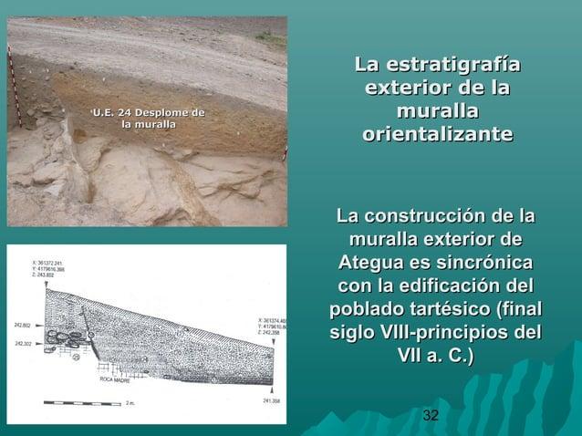32La estratigrafíaLa estratigrafíaexterior de laexterior de lamurallamurallaorientalizanteorientalizanteU.E. 24 Desplome d...