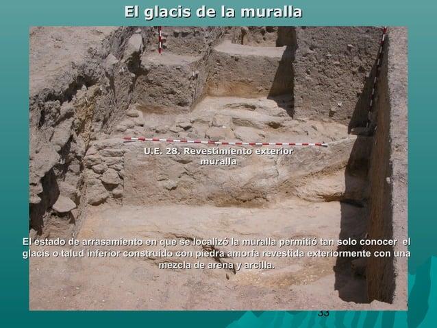 33El glacis de la murallaEl glacis de la murallaU.E. 28. Revestimiento exteriorU.E. 28. Revestimiento exteriormurallamural...