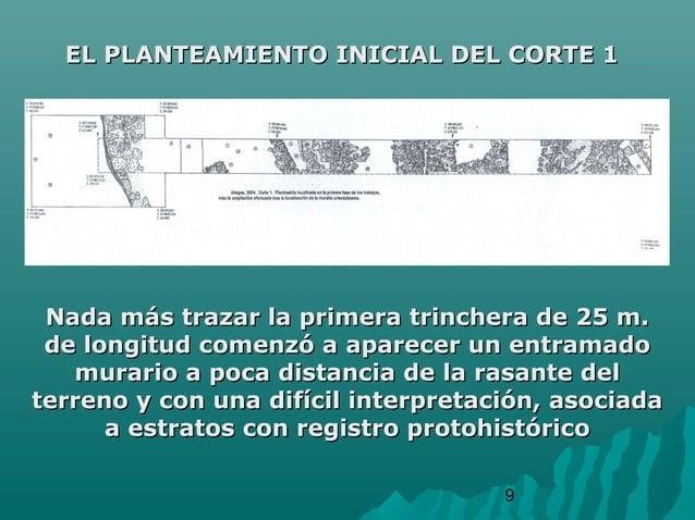 9EL PLANTEAMIENTO INICIAL DEL CORTE 1EL PLANTEAMIENTO INICIAL DEL CORTE 1Nada más trazar la primera trinchera de 25 m.Nada...
