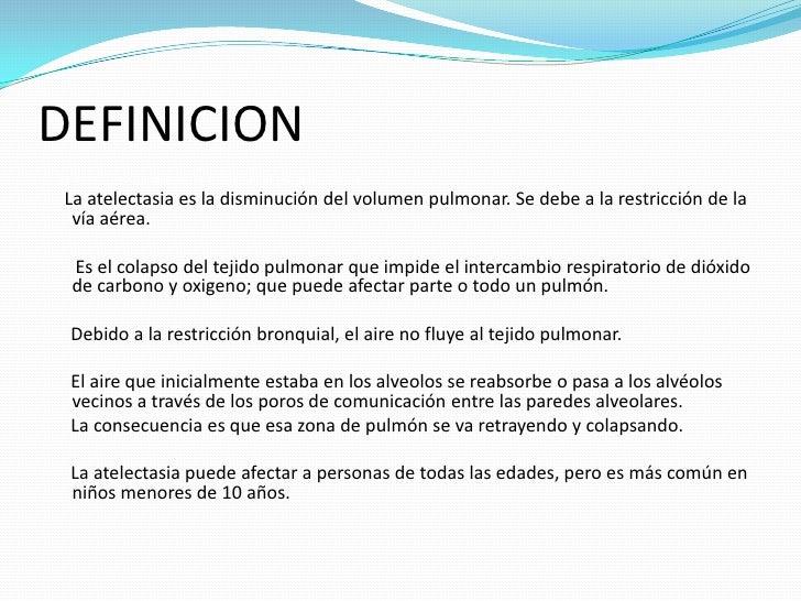 Atelectasia presentacion for Definicion de gastronomia pdf