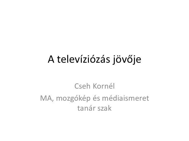 A televíziózás jövője        Cseh KornélMA, mozgókép és médiaismeret         tanár szak