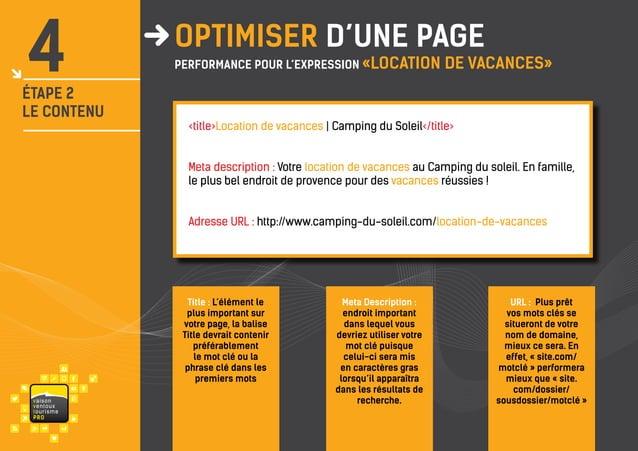 4  ÉTAPE 2 LE CONTENU  OPTIMISER d'une page  performance pour l'expression «LOCATION  DE VACANCES»  <title>Location de vac...