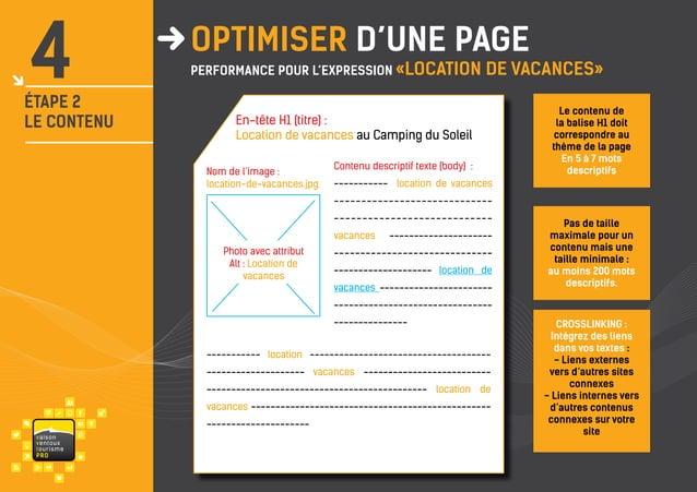 4  ÉTAPE 2 LE CONTENU  OPTIMISER d'une page  performance pour l'expression «LOCATION  DE VACANCES»  En-tête H1 (titre) : L...
