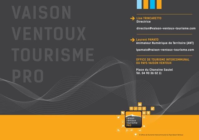 Lise TRINCARETTO Directrice direction@vaison-ventoux-tourisme.com  Laurent PAMATO Animateur Numérique de Territoire (ANT) ...
