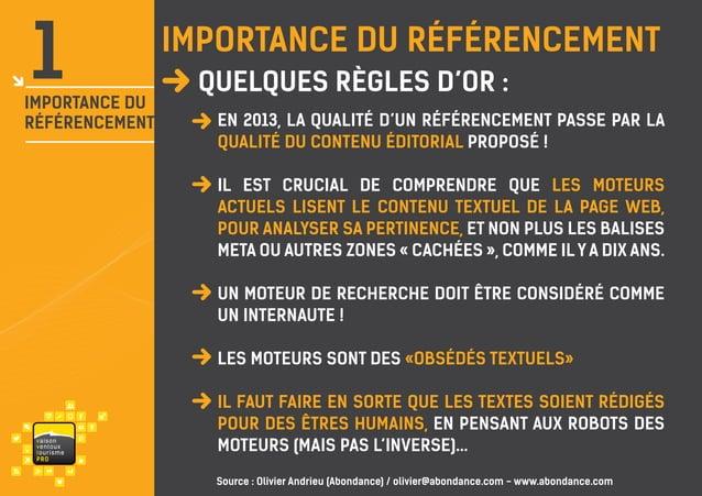 1  importance du référencement  IMPORTANCE du Référencement  dans lerègles d'or : Quelques monde  En 2013, la qualité d'un...