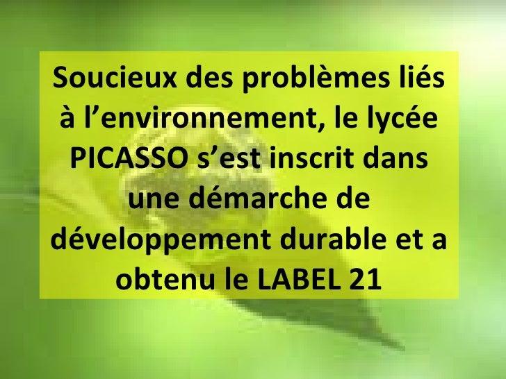 Soucieux des problèmes liés à l'environnement, le lycée PICASSO s'est inscrit dans une démarche de développement durable e...