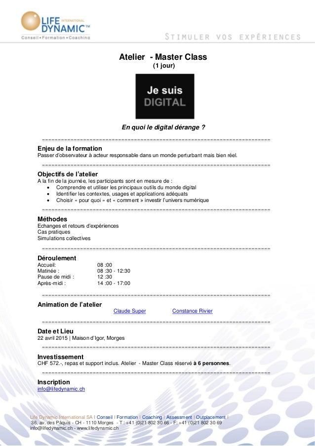 Life Dynamic International SA I Conseil I Formation I Coaching I Assessment I Outplacement I 36, av. des Pâquis - CH - 111...