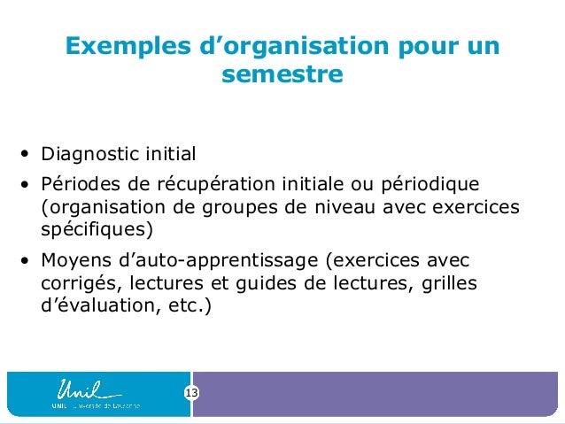 Exemples d'organisation pour un semestre • Diagnostic initial • Périodes de récupération initiale ou périodique (organisat...