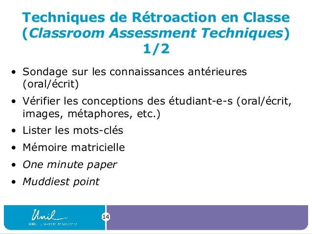 Techniques de Rétroaction en Classe (Classroom Assessment Techniques) 1/2 • Sondage sur les connaissances antérieures (ora...