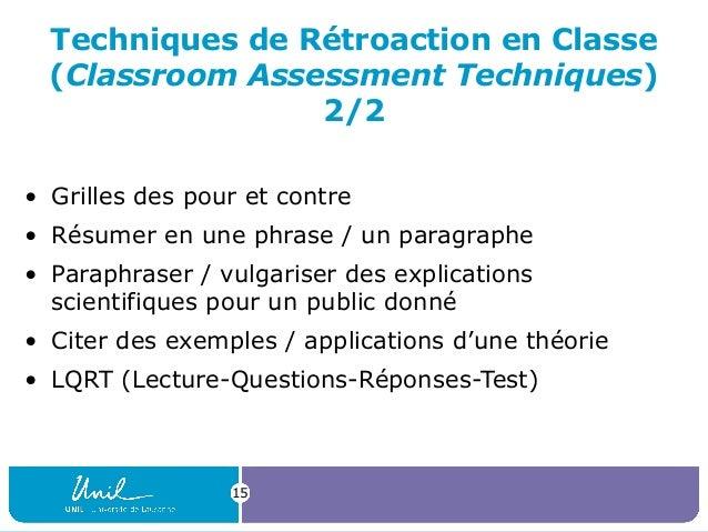 Techniques de Rétroaction en Classe (Classroom Assessment Techniques) 2/2 • Grilles des pour et contre • Résumer en une ph...