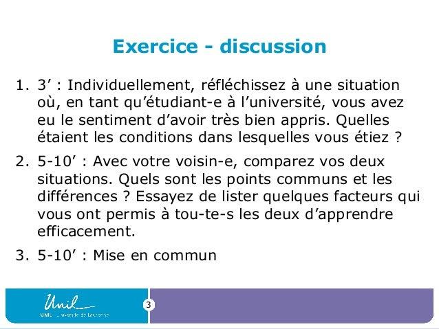 Exercice - discussion 1. 3':Individuellement,réfléchissezàunesituation où,entantqu'étudiant-eàl'université,vo...