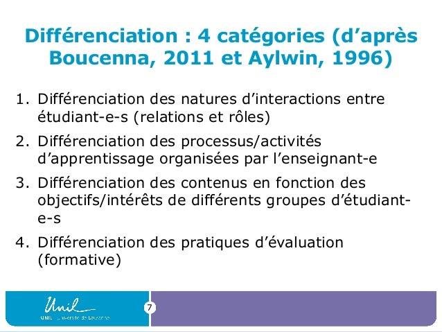 7 Différenciation : 4 catégories (d'après Boucenna, 2011 et Aylwin, 1996) 1. Différenciation des natures d'interactions en...