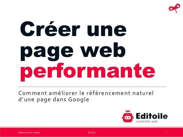 Créer une page web performante Comment améliorer le référencement naturel d'une page dans Google Référencement naturel Edi...