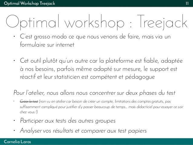 Cornelia Laros Optimal Workshop Treejack Optimal workshop : Treejack 11 • C'est grosso modo ce que nous venons de faire, m...