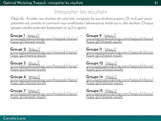 Cornelia Laros Optimal Workshop Treejack : interpréter les résultats Interpréter les résultats 21 Objectifs : Accéder aux ...
