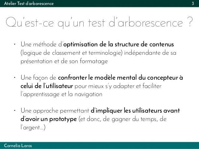 Cornelia Laros Atelier Test d'arborescence Qu'est-ce qu'un test d'arborescence ? 3 • Une méthode d'optimisation de la stru...