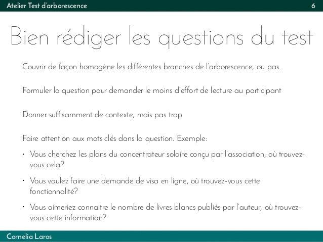 Cornelia Laros Atelier Test d'arborescence Bien rédiger les questions du test 6 Couvrir de façon homogène les différentes ...