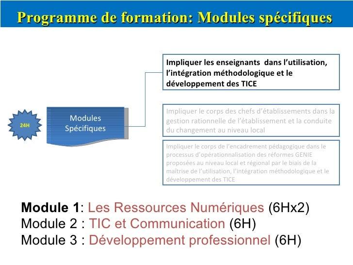 Programme de formation: Modules spécifiques  Modules Spécifiques Impliquer les enseignants  dans l'utilisation, l'intégrat...